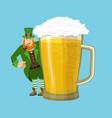 happy stpatrick s day leprechaun and mug beer vector image vector image