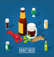 isometric beer background vector image vector image