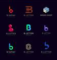 letter b logo design templates set vector image