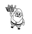 line santa claus with suit christmas and present vector image vector image