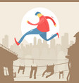 man jumping on roof vector image vector image