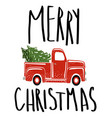 merry christmas vintage red truck vector image