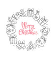 merry christmas wreath with lettering hand vector image vector image