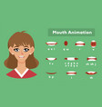 mouth animation for a girl female pronunciation vector image vector image