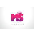 ms m s letter logo with pink purple color and vector image vector image