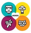 Nerds icon set with funny faces in glasses pencil vector image vector image