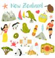 new zealand set symbols landmarks animals vector image