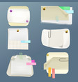 note papers sheets with pins clips vector image
