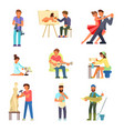 people and their hobbies flat vector image vector image