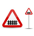 road sign warning railroad crossing in red vector image vector image
