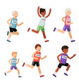 running people of different ages sport characters vector image vector image