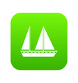 sailing boat icon digital green vector image vector image