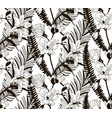 seamless pattern with drawn flowers and vector image vector image