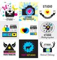 set vintage photo studio logo labels badges vector image