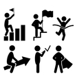 Success People Flat Icons Pictogram Isolated on vector image