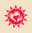 sun and heart in hand vector image vector image