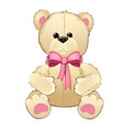 teddy bear with a pink bow isolated on white vector image vector image