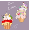 two fantastic cakes vector image vector image