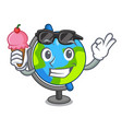 with ice cream globe character cartoon style vector image