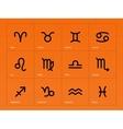 Zodiac icons on orange background vector image vector image