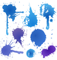 Blue ink blot collection isolated on white backgro vector image