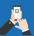 finger touching smart phone screen with check list vector image