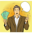 Rich handsome guy hold money and point his finger vector image