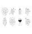 Valentines Day greeting cards 8 set Hand drawn vector image