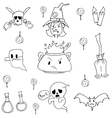Flat hand draw halloween in doodle vector image