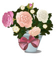 a gift potted flowers isolated on white vector image