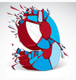abstract low poly wrecked number 9 with black vector image vector image