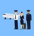 cartoon aviation crew members vector image vector image