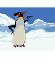 Cartoon king penguin in snowy mountains and ice
