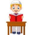 cartoon muslim boy reading a book vector image vector image