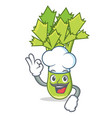 chef celery character cartoon style vector image vector image