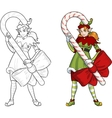 Christmas elf red Caucasian girl with Candy vector image