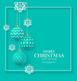 christmas green baubles with geometric patterns vector image