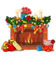christmas sketch with the fireplace and vector image vector image