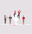 colleagues celebrating victory - flat design style vector image vector image