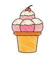 color crayon stripe cartoon ice cream with three vector image vector image