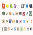 cut letters of the alphabet and numbers vector image vector image