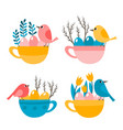 cute cup with bird eggs and leaves for easter vector image