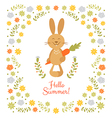 Cute summer card with little rabbit vector image