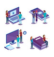 digital technology with people isometrics vector image