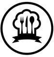 food icon with chef hat and kitchen utensil vector image vector image