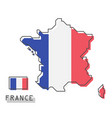 france map and flag modern simple line cartoon vector image