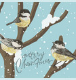 funny tits and bird feeder on winter tree under vector image vector image