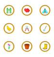 garden care icons set cartoon style vector image vector image