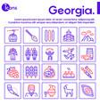 georgia color linear icon set georgian culture vector image vector image