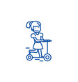 girl on a scooter line icon concept girl on a vector image vector image